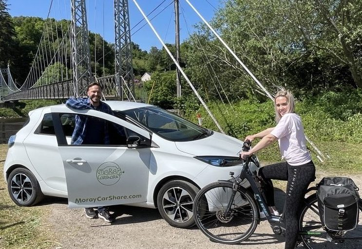 Picture of electric car and bike at Alice Littler Park